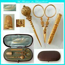 Nécessaire set coffret de couture ancien OR MASSIF french gold 18K sewing etui