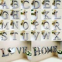 26 Letters DIY Mirror 3D Wall Sticker Silver Art Mural Home Decor Acrylic Decals