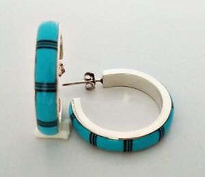 LOVELY HANDCRAFTED TURQUOISE ONYX INLAY .925 STERLING SILVER HOOP EARRINGS