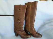 FRYE SHOES FIONA LEATHER LOOP BOOTS DARK BROWN CHESTNUT 77170 KNEE HI ZIP 8.5 B
