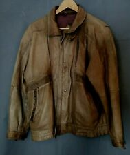"""Brown Leather Jacket Size 44"""" Chest Unknown Brand Possibly German (D4)"""