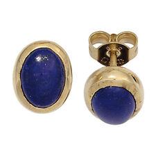 Ovale Echtschmuck im Ohrstecker-Stil mit Lapis Lazuli-Hauptstein