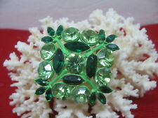 Vintage Designer Signed EDLEE Stacked Green Rhinestones Brooch Rare Find