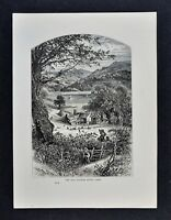 1878 Picturesque Print - Nab Cottage on Rydal Lake - Ambleside Cumbria - England