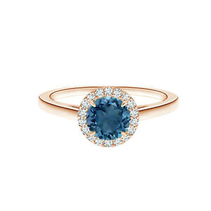 Four Prong Set 0.75 CTW Round London Blue Topaz Solitaire Promise Ring US-9