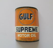 METAL FLAT HALF GULF OIL CAN RUSTIC  STYLE GARAGE MAN CAVE COLLECTIBLE