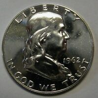 1962 Silver Proof Ben Franklin Half Dollar Flashy Gem Example    DUTCH