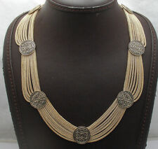 Technibond Oxidized Antique Station Chain Necklace 14K Yellow Gold Clad Silver
