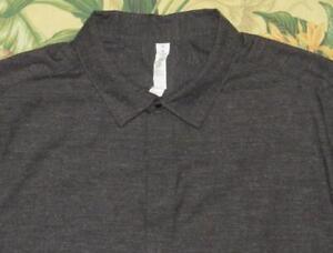 Mens LULULEMON Gray Speckled Short Sleeve Snap Shirt Side Pockets XL