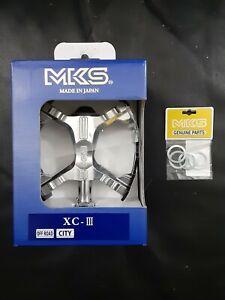 "MKS XC-III Pedals BLACK 9/16"" USA Bear Trap BMX MTB Suntour nos Bicycle XC-II"