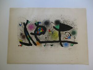 JOAN MIRO LITHOGRAPH SCULPTURES ABSTRACT SURREALISM ARCHES PAPER 30 INCHES 1974