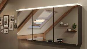 Spiegelschrank 140 cm LED Acrylglaslampe Anthrazit Spiegel Badezimmerspiegel