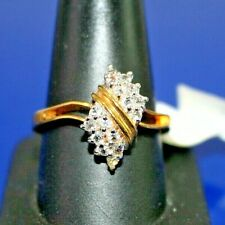 Fashion Ring Gift Size 5 R008 Women's Girls Goldtone White Cubic Zirconia Cz