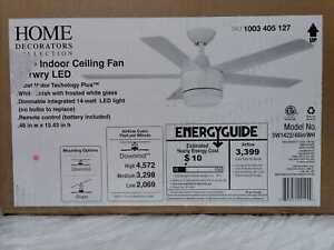 Merwry 48 in. Integrated LED Indoor White Ceiling Fan w/ Light Kit & Remote HDC