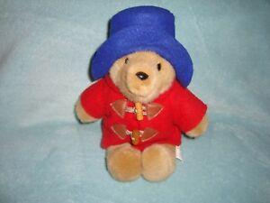 "Paddington Bear Blue Hat Red Coat w/ Wooden Buttons Plush 10"""