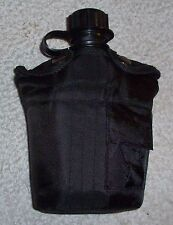 Black Canteen Water Bottle & Cover - 1 Litre Plastic Military Style Made