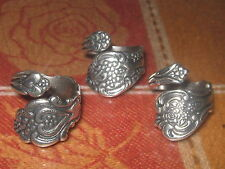 WHOLESALE LOT OF 3 SILVER PLATED FLORAL SPOON RINGS SIZES 5 -10 ADJUSTABLE