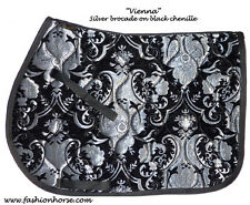 "STUNNING  ""SILVER BLACK"" CHENILLE BROCADE  ENGLISH SADDLE PAD - baroque"