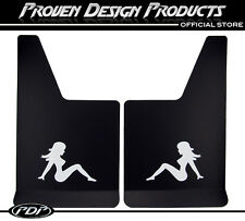GMC SIERRA 1500 Truck Flap Splash Guards, Mud Guards_TRUCKER GIRL_WHITE_GMC 4X4