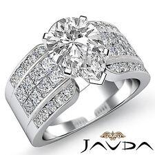 Fino Pera Diamante Invisible Set Anillo de Compromiso GIA H VS2 14k Oro Blanco