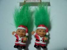 "CHRISTMAS SANTA EARRINGS - 2"" Russ Troll Dolls - NEW IN ORIGINAL WRAPPER"