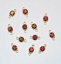 VINTAGE RHINESTONE CONNECTOR BEAD DOLL JEWELRY RUBY AB 17ss SWAROVSKI ELEMENTS