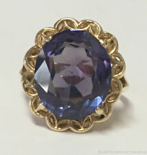 Estate Jewelry 14mm Oval Synthetic Alexandrite Ring 14K Yellow Gold Band Size 6