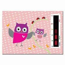 Baby Pink Owl and Ladybird Nursery Room Safety Temperature Thermometer Monitor