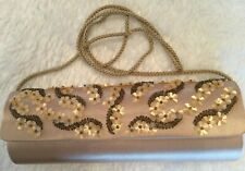 Vintage Floral Sequin Beaded Oblong Clutch Evening Bag Purse Beige Satin-Like