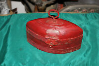 Primitive Wood Storage Box Container #1 Red Color Oval Shape Metal Handle