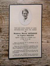 IMAGE MORTUAIRE : Mme Marcel MORANGE, née Eugénie SARLIEVE - 1951