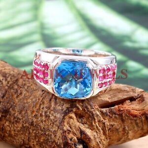 Natural Blue Topaz & Ruby Gemstone with 925 Sterling Silver Ring for Men's #2768