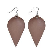 Leather Earrings Bohemian Leaf Drop Animal Print Black White Metalic Hot Light Brown - (silver)
