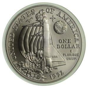 Unc 1992 Christopher Columbus NASA Silver Commemorative US Dollar 90% Silver