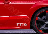 2x Audi TTS Logo Premium Cast Skirt Decals Stickers TT S-line TDI TFSI Quattro