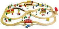 101 Piece Childrens Wooden Overhead Railway Track /& Trains /& Accessories