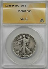 1938-D Liberty Walking Half Dollar 50C VG 8 ANACS (Better Date)