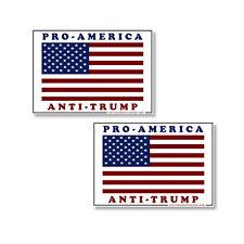 """Pro - America Anti Trump 2 pack of bumper stickers Anti-Trump Decals 6"""" wide"""