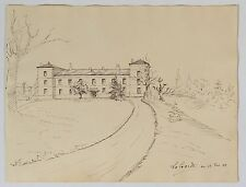 Dessin encre de Chine, A.Perez «Chateau de La Garde»Gers 1888 XIXème .