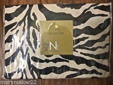NIP-$39 NOBILITY TWIN 3pc SHEET SET ANIMAL PRINT BLACK/CREAM FLAT/FIT/PC 300TC