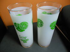 2) Calvert Gin Retro Mid Century Frosted Cocktail Tall Glass Barware Bar Ware