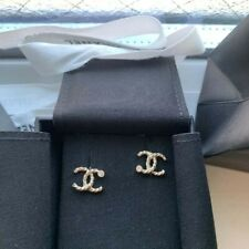 Authentic Chanel Gold-Tone Dore CC Stress Crystal Studs Earrings Small