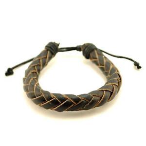 NATURAL LEATHER BRACELET Black Braid Cord Hemp Men Women Braided Adjustable NEW