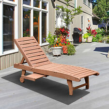 Outsunny Wooden Outdoor Chaise Lounge Patio Pool Recliner Chair w/ Pull-Out Tray