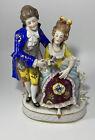 Vintage Capodimonte 1771-1834 Figural Man & Woman Lamp Base Figurine Rare