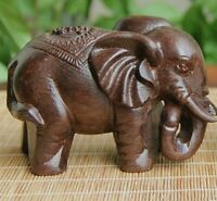 1 Pc Elephant Figurines Craft Carved Natural Wooden Mineral Crystal Mini Animals