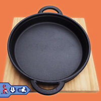 Cast Iron Frying pan Cookware Backing Pot Skillet Grill Wood Serving Board