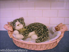 VINTAGE PINK WICKER DOLL PLUSH CAT DOG OVAL BED STARCHED RIBBONS ANTIQUE LOVELY!
