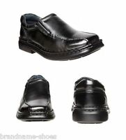 MENS HUSH PUPPIES LEXICON EXTRA WIDE MEN'S BLACK LEATHER WORK SLIP ON SHOES