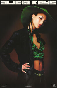 LOT OF 2 POSTERS : MUSIC : ALICIA KEYS - POSED   FREE SHIPPING !  #9058    LC1 H